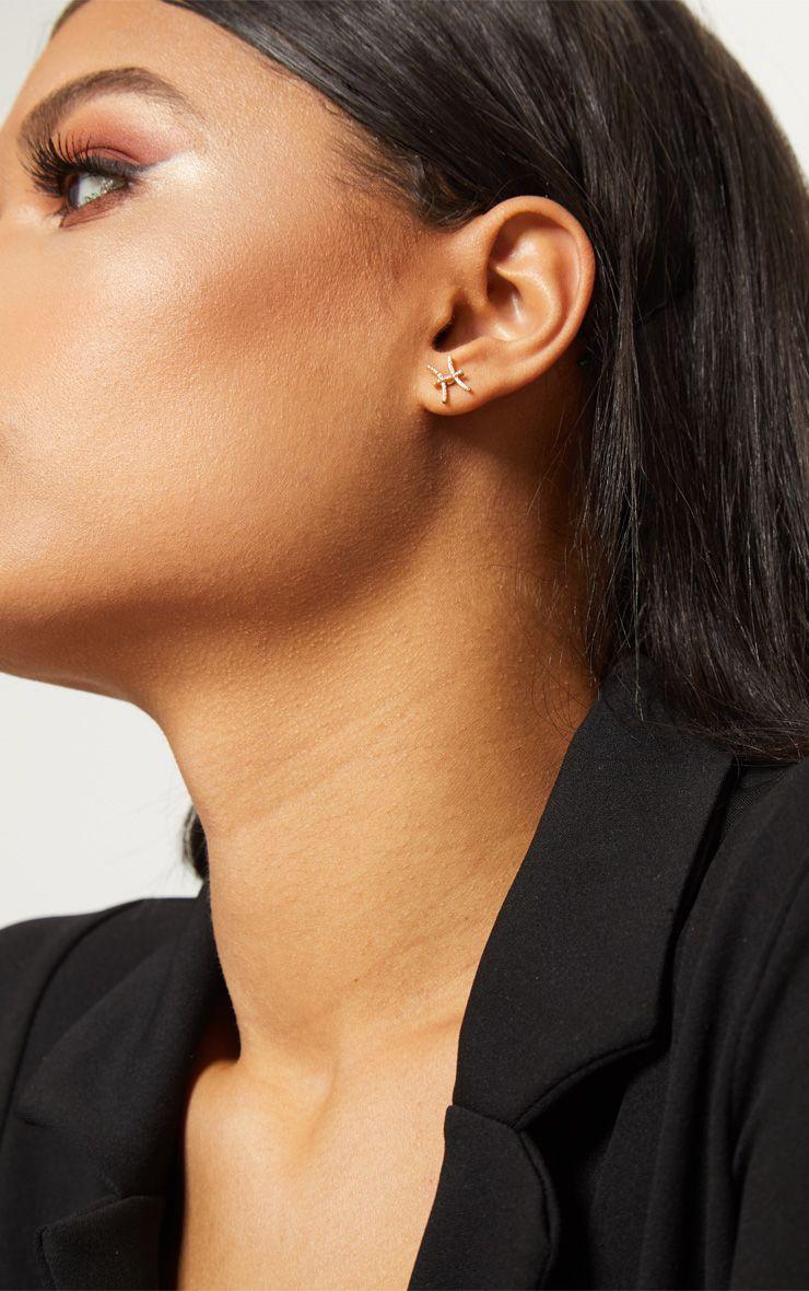 Gold Zodiac Pisces Stud Earrings 1