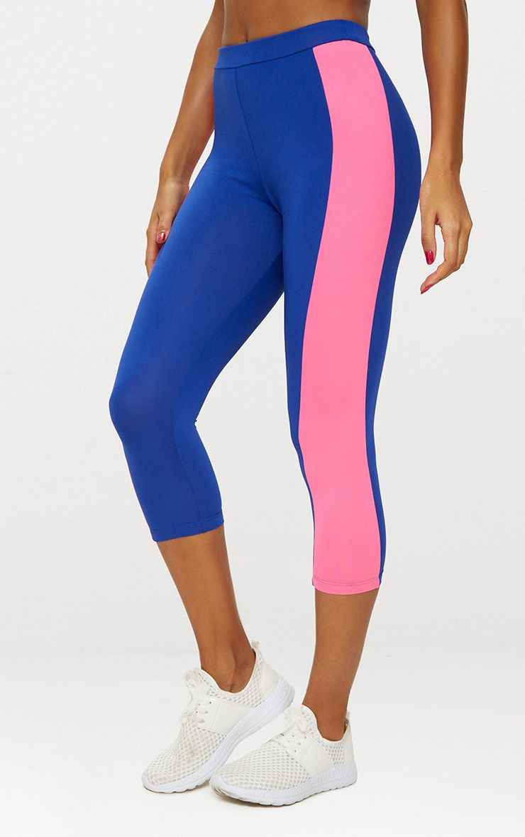 Blue Contrast Panel 3/4 Sports Leggings