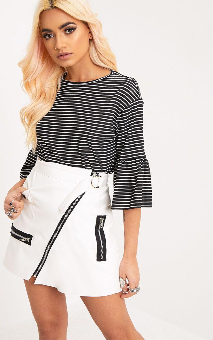 Odelle Black Stripe Frill Sleeve Jersey T-Shirt