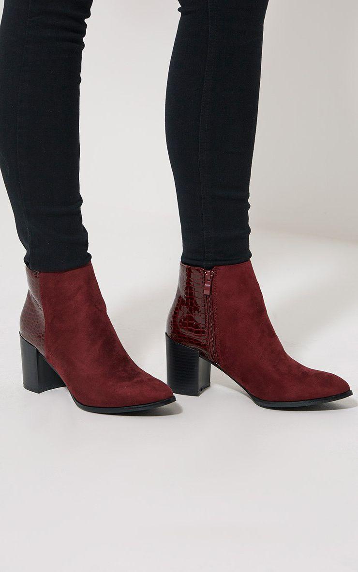 Kimi Oxblood Croc Patent Heel Suede Boots 1