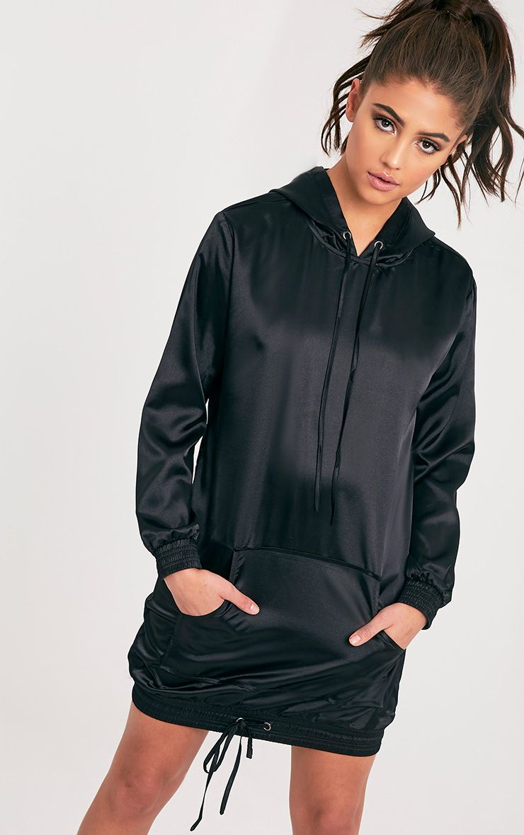 Maya Black Satin Oversized Hoodie Dress