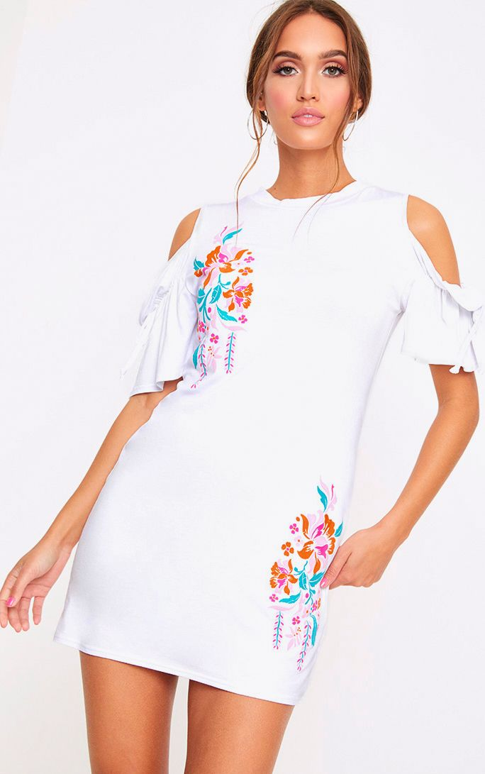 White Cold Shoulder Embroidered Print Shift Dress