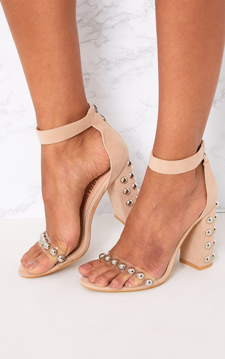 Nude Round Studded Faux Suede Block Heels