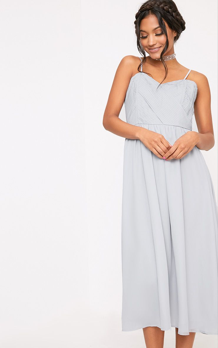 Gracelyn Ice Grey Pleat Detail Midi Dress