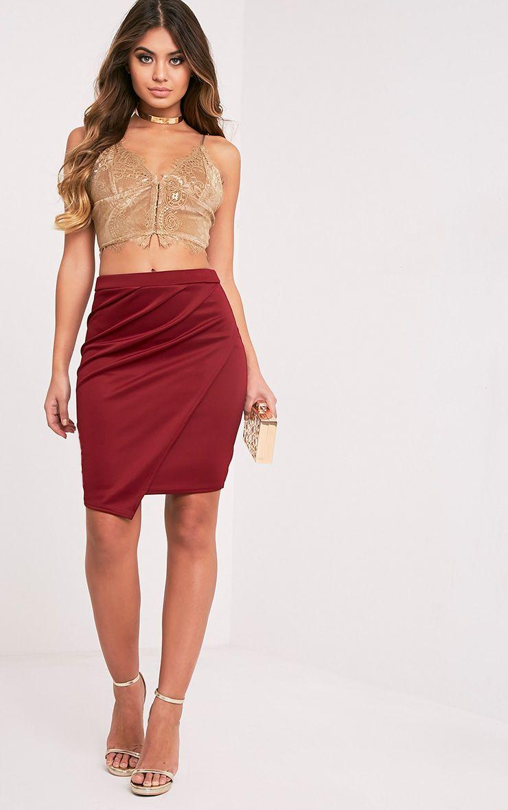 Sherianne Burgundy Wrap Midi Skirt