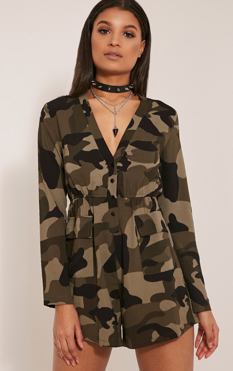 Tannie Camouflage Print Pocket Detail Playsuit 1