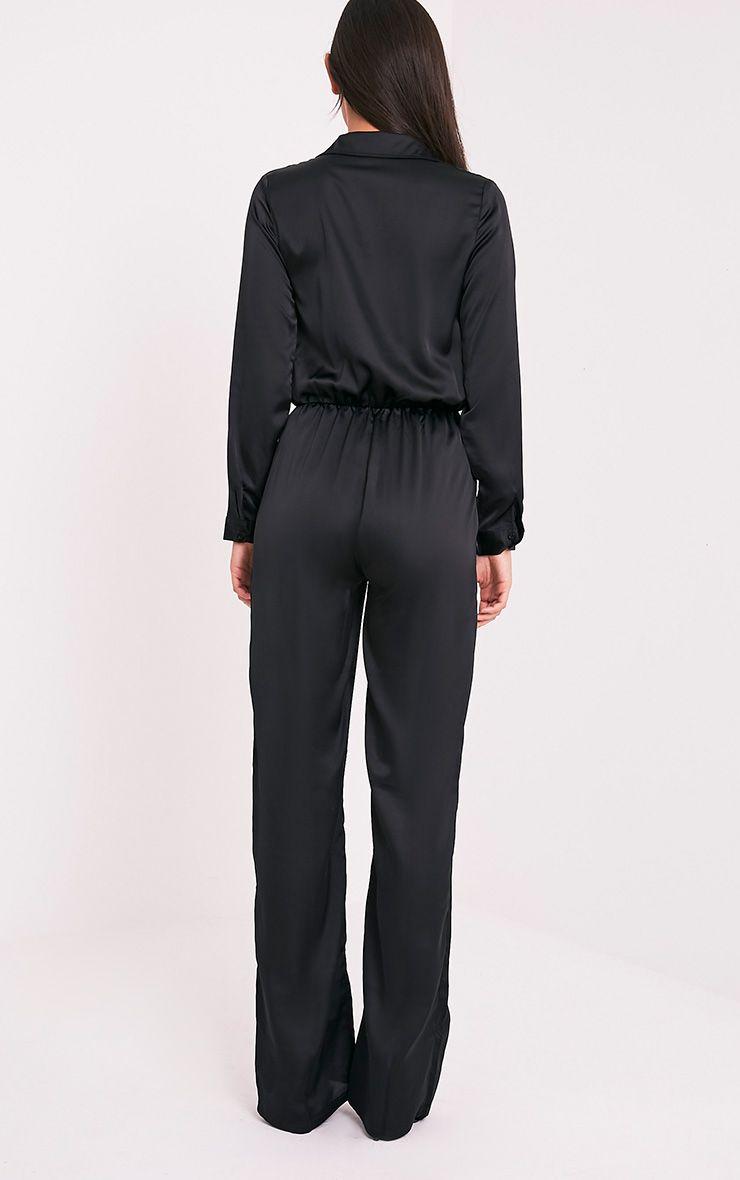 Valerie Black Long Sleeve Wide Leg Plunge Jumpsuit 2