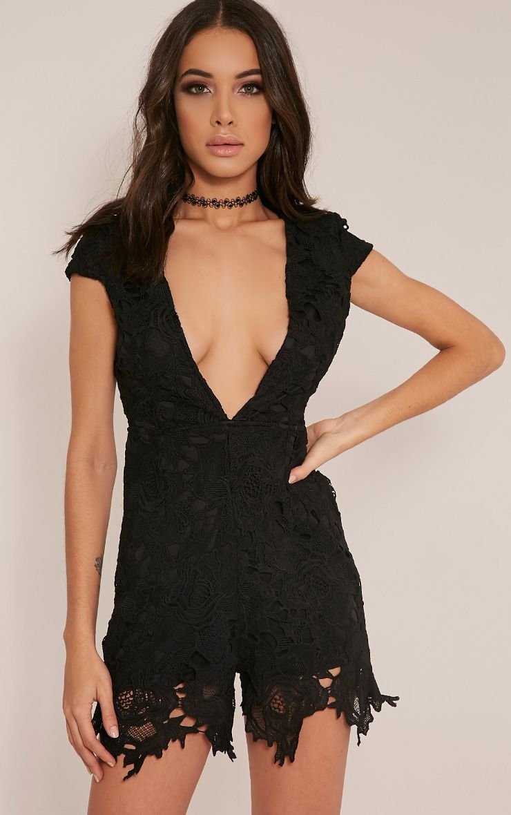Eleena Black Lace Plunge Playsuit