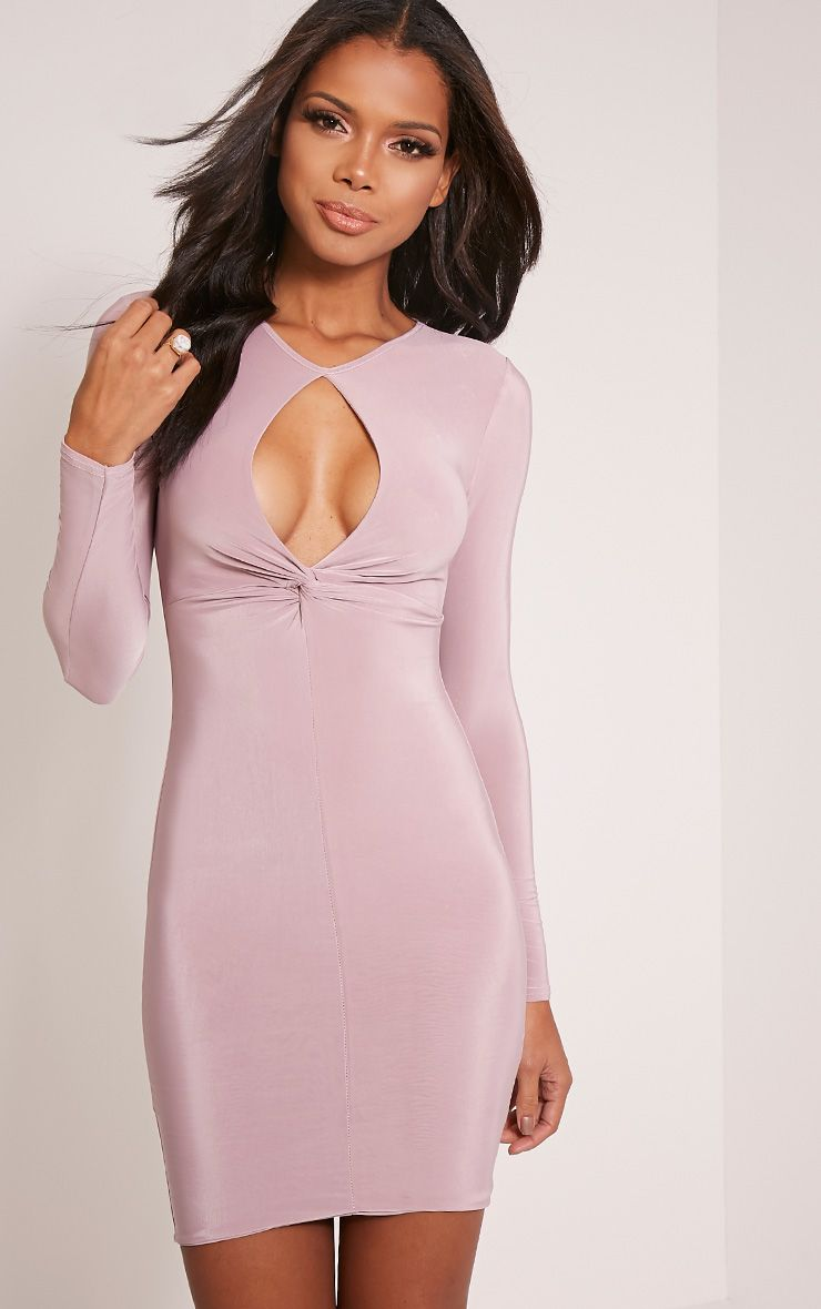 Tilda Mauve Slinky Knot Front Key Hole Mini Dress 1
