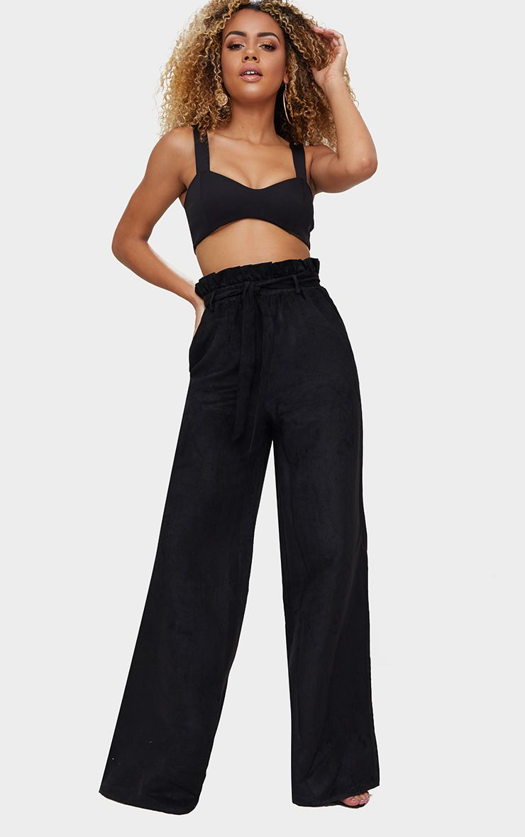 Black Faux Suede Paperbag Wide Leg Trousers