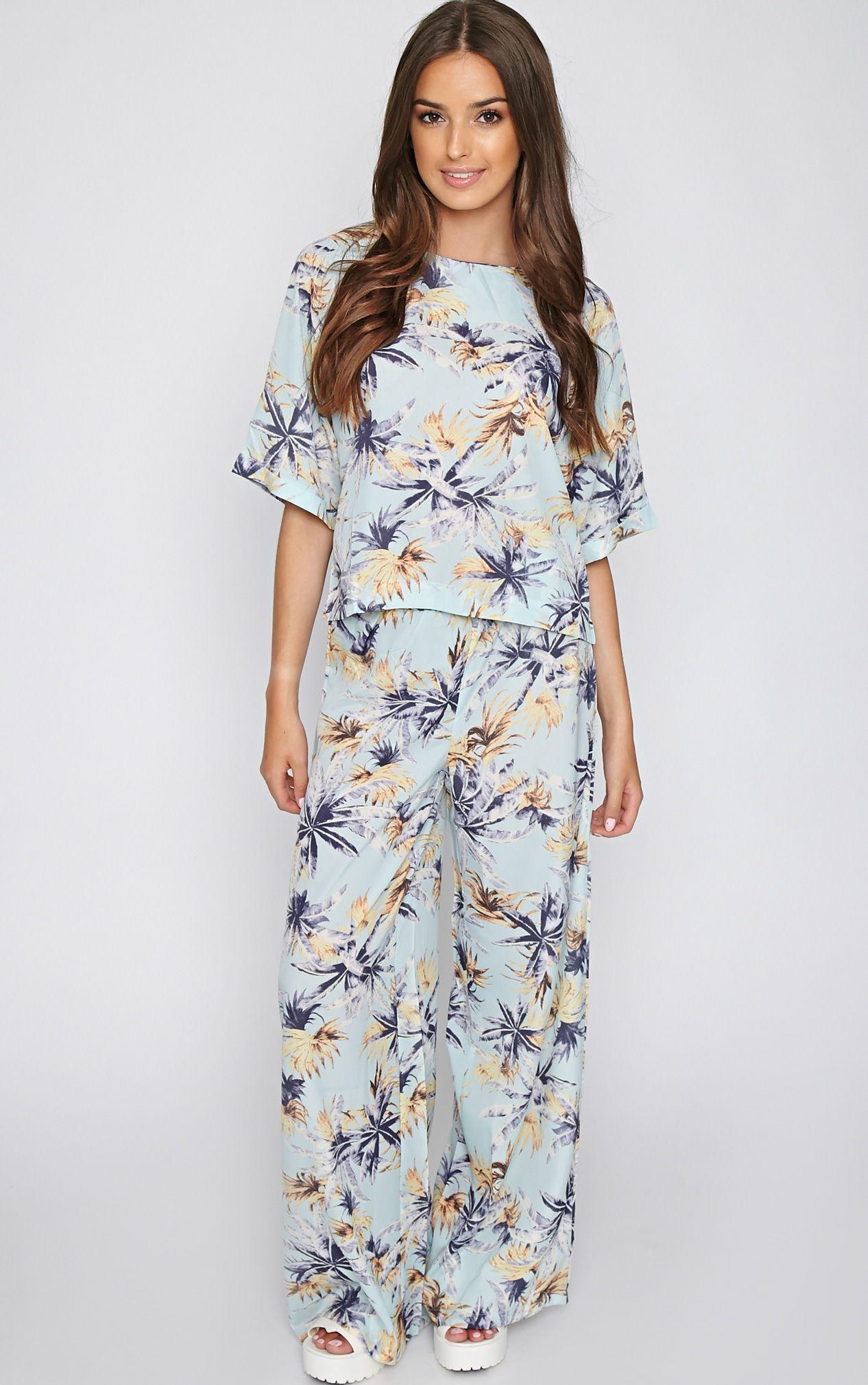 Jocelyn Blue Leaf Print Trouser -S 1