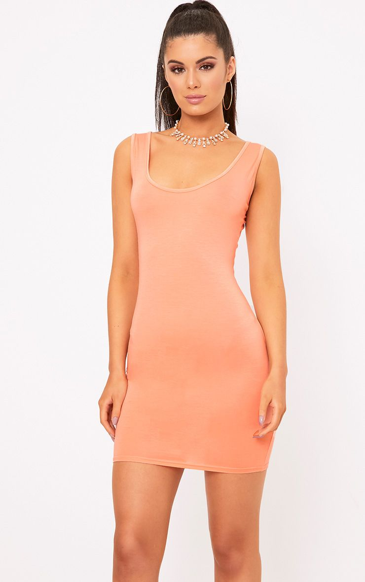 Basic Peach Scoop Neck Bodycon Dress