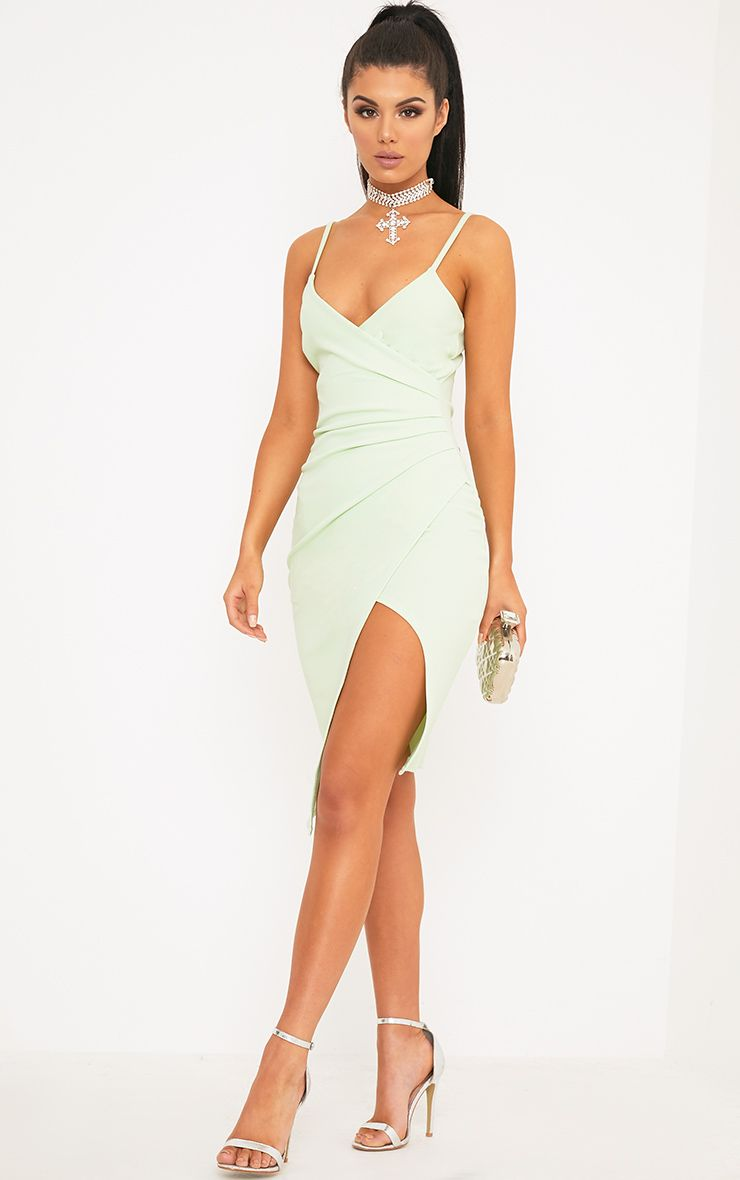 Lauriell Mint Wrap Front Crepe Midi Dress