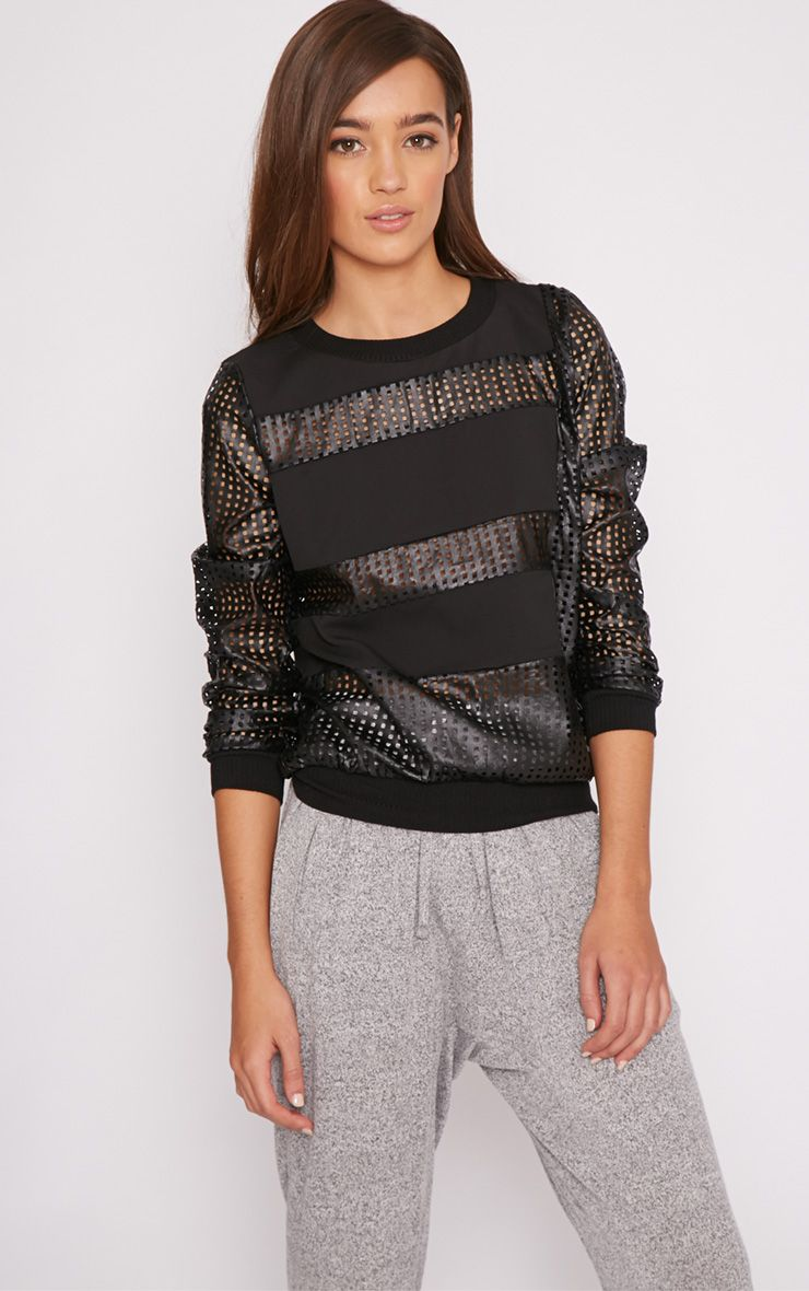 Colette Black Leather Perforated Jumper  1