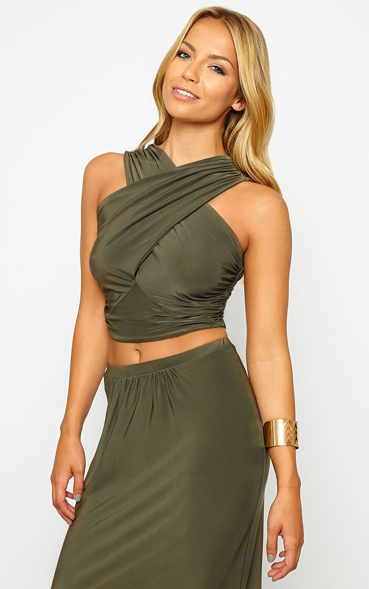 Dalia Khaki Wrap Crop Top 1