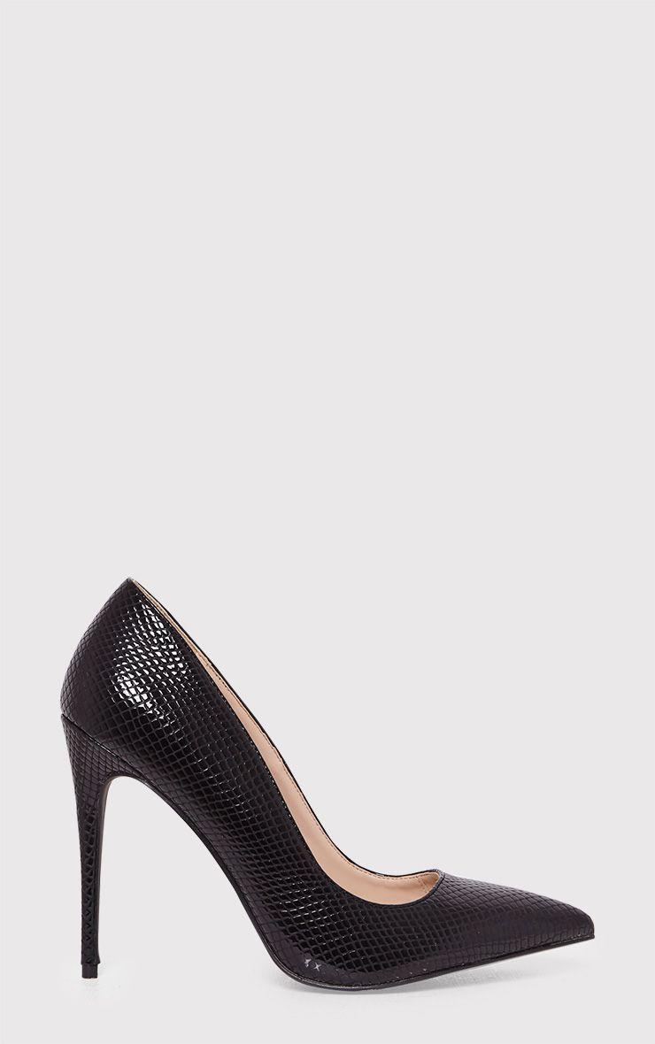 Ellia Black Faux Snake Skin Pointed Heels