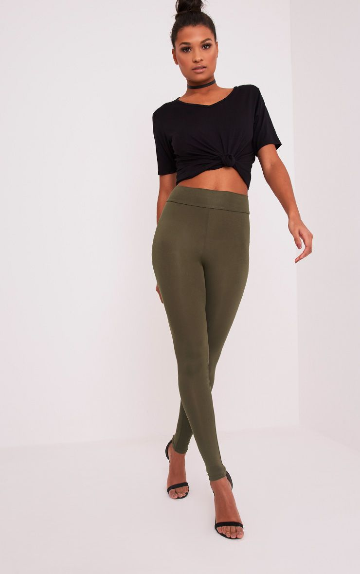 Dabria Khaki High Waisted Jersey Leggings 1