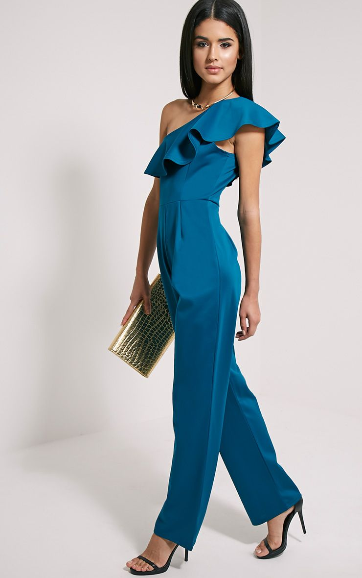 Kerry Teal One Shoulder Frill Jumpsuit 1