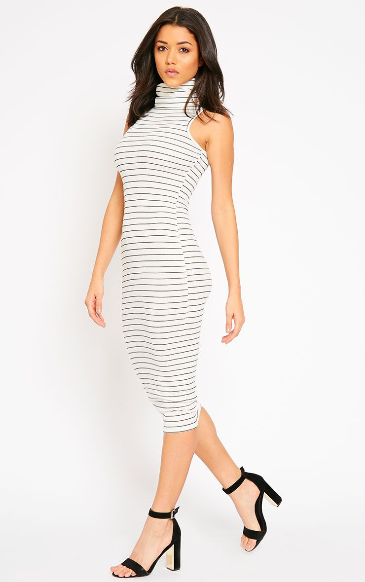 Felice Cream Stripe Roll Neck Dress 1