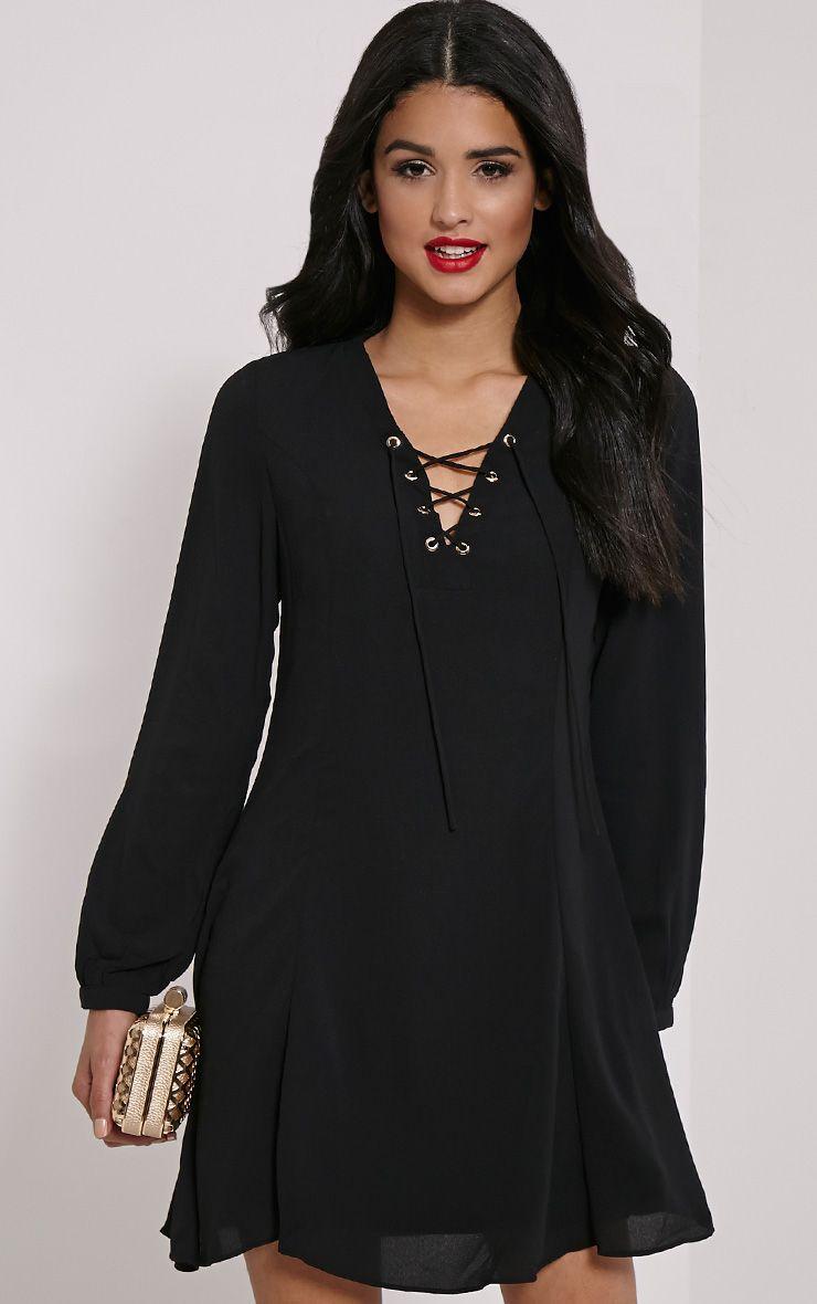 Samara Black Lace Up Chiffon Dress 1
