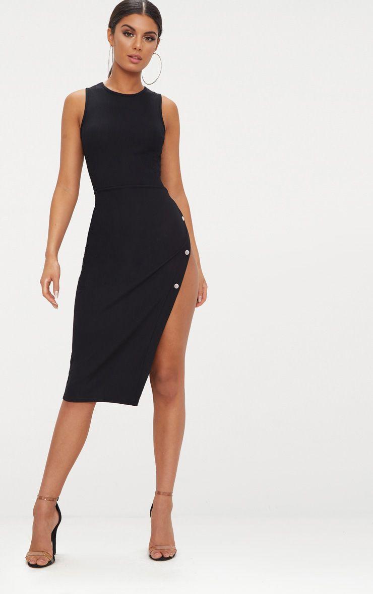 Black Ribbed Popper Split Detail Midi Dress 1