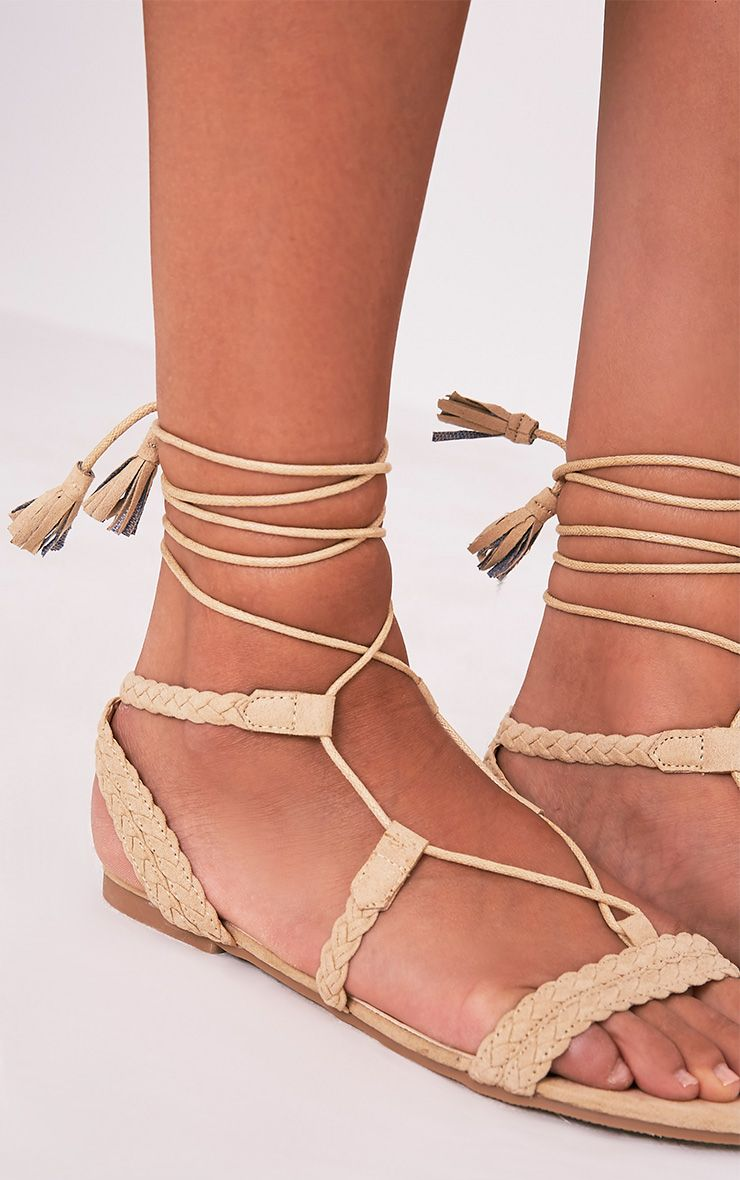 Catia Beige Lace Up Detail Sandals 5