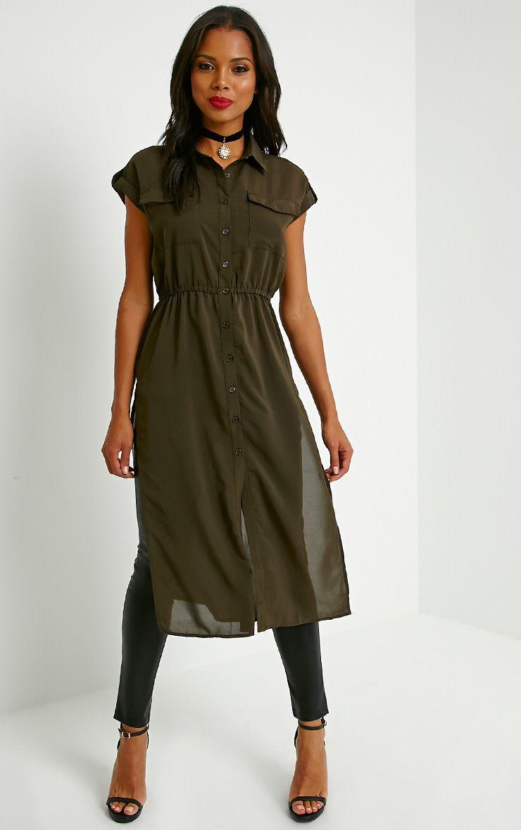 Freya Khaki Longline Shirt 1