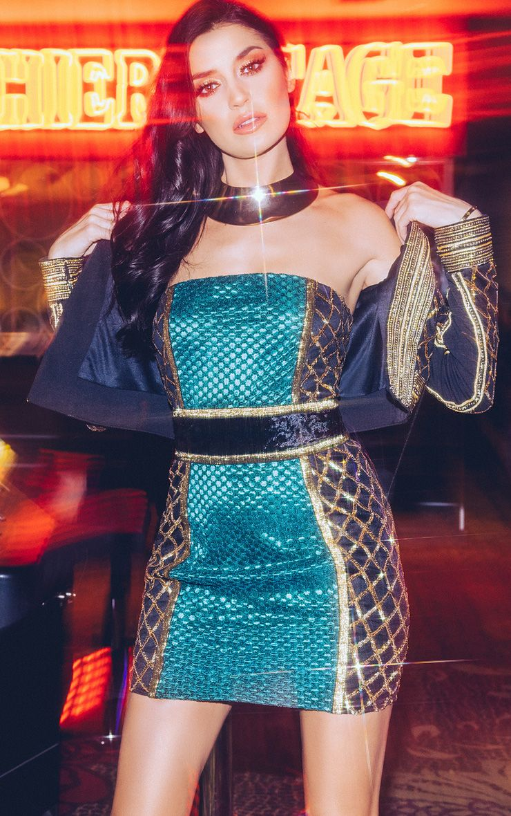 Ezmai Emerald Green Premium Sequin Panel Bodycon Dress