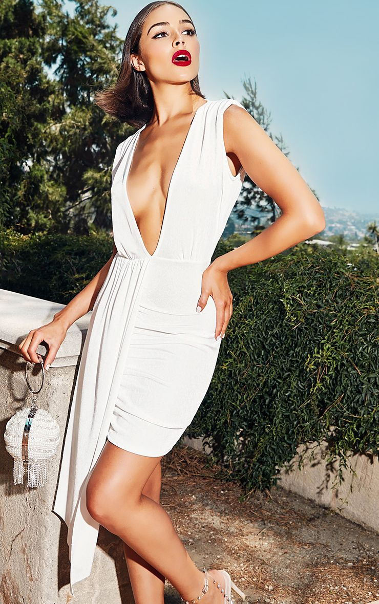 White Plunge Neckline Drape Detail Bodycon Dress