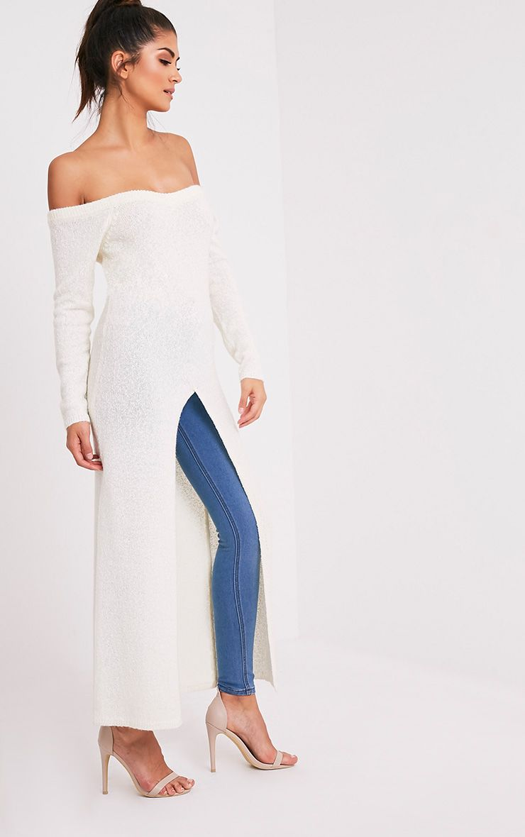 Dyanie robe pull fendu sur le devant crème 5