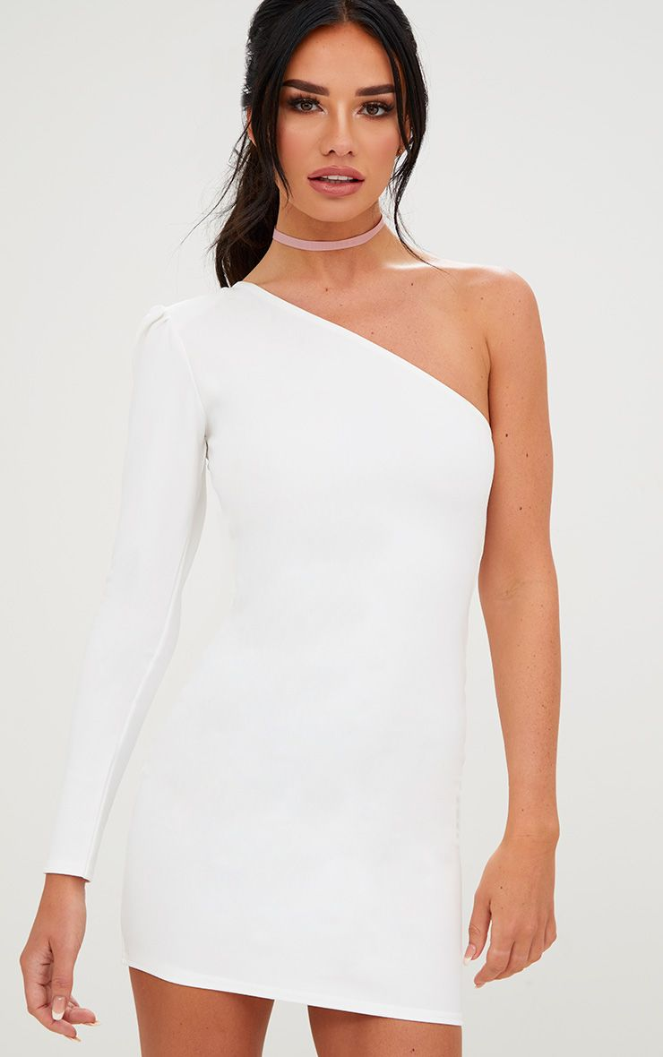 White One Shoulder Puff Detail Bodycon Dress