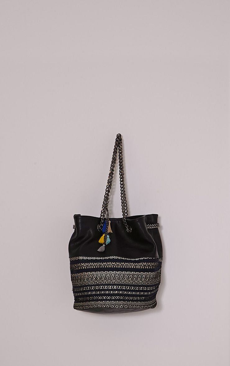 Della Black Boho Print Chain Bag Black