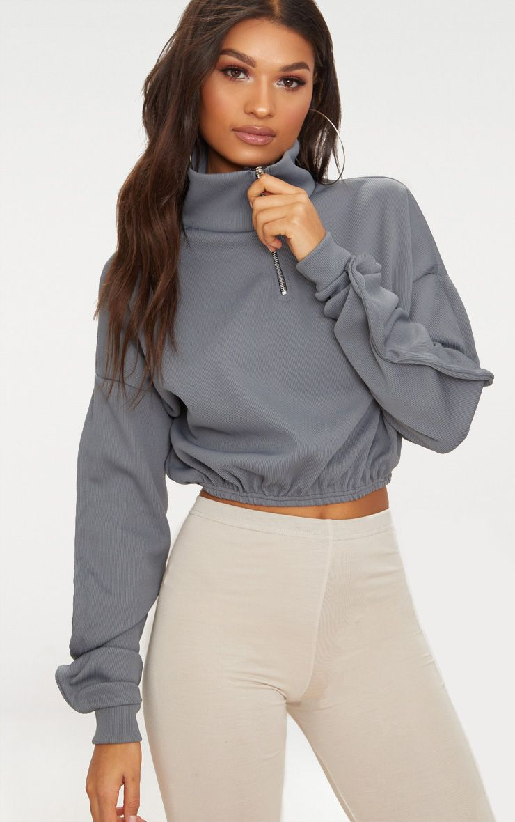 Grey Rib Zip Front Long Sleeve Sweater