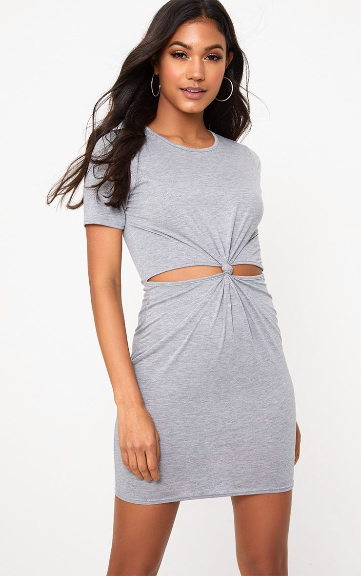 Grey Marl Jersey Knot Front T Shirt Dress
