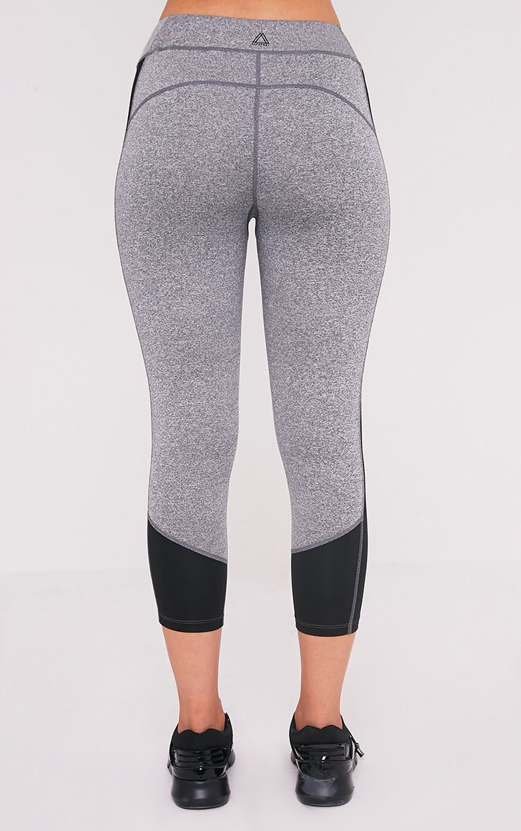 Fion Black Panelled Cropped Gym Leggings 5