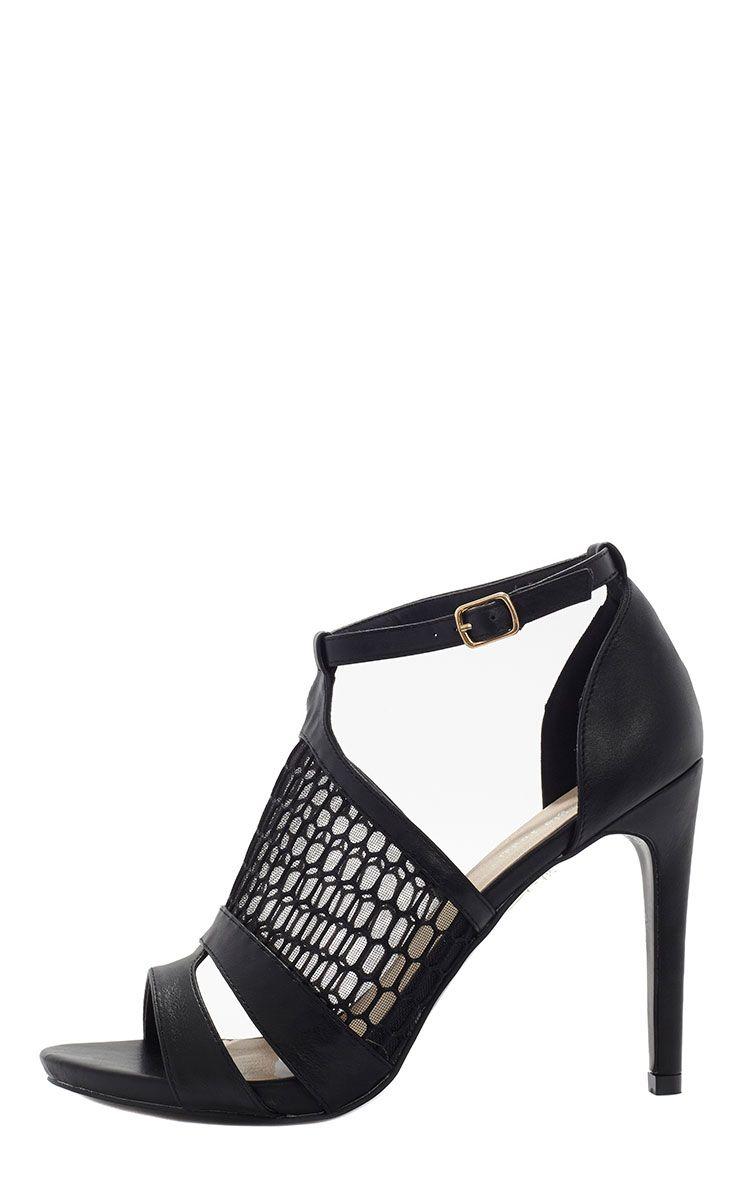 Izadora Black Mesh Strappy Heeled Sandal  1