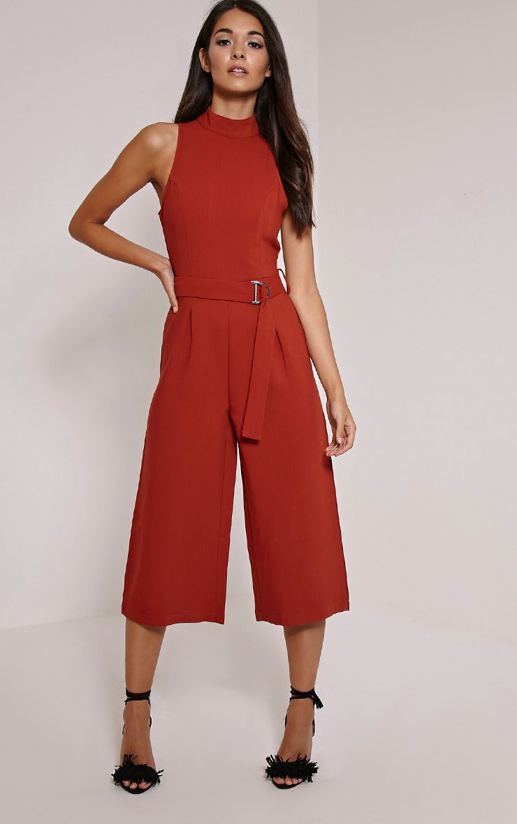 Candace Rust High Neck D Ring Culotte Jumpsuit 1