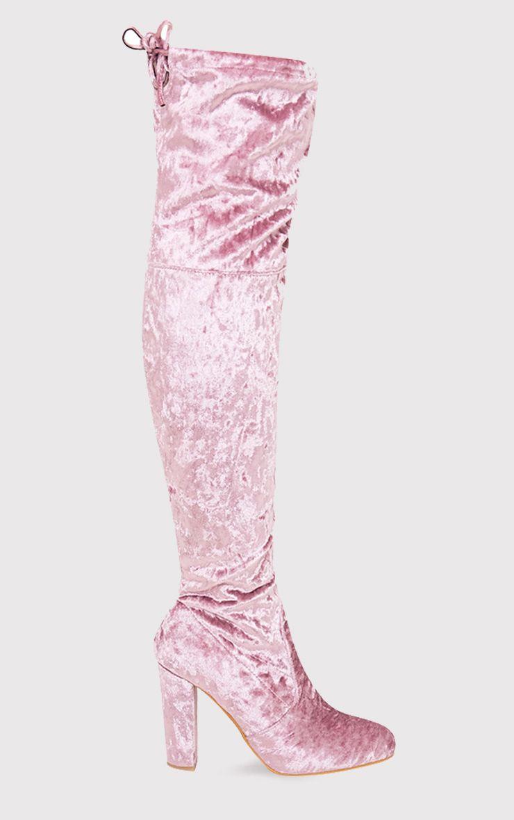 Bess Blush Crushed Velvet Heeled Thigh Boots 1