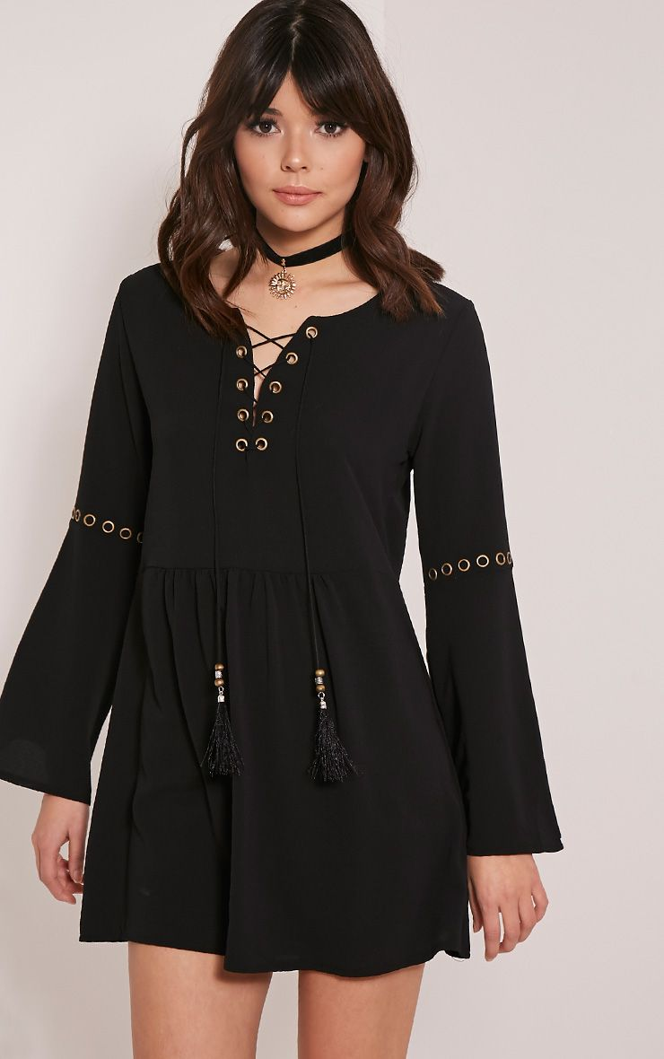 Adelynn Black Crepe Lace Up Shift Dress 1