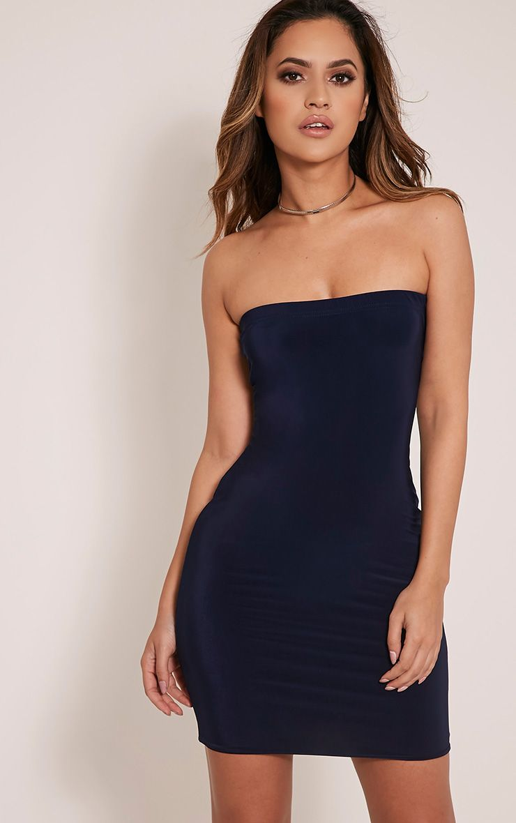Drita Navy Bandeau Slinky Bodycon Dress 1