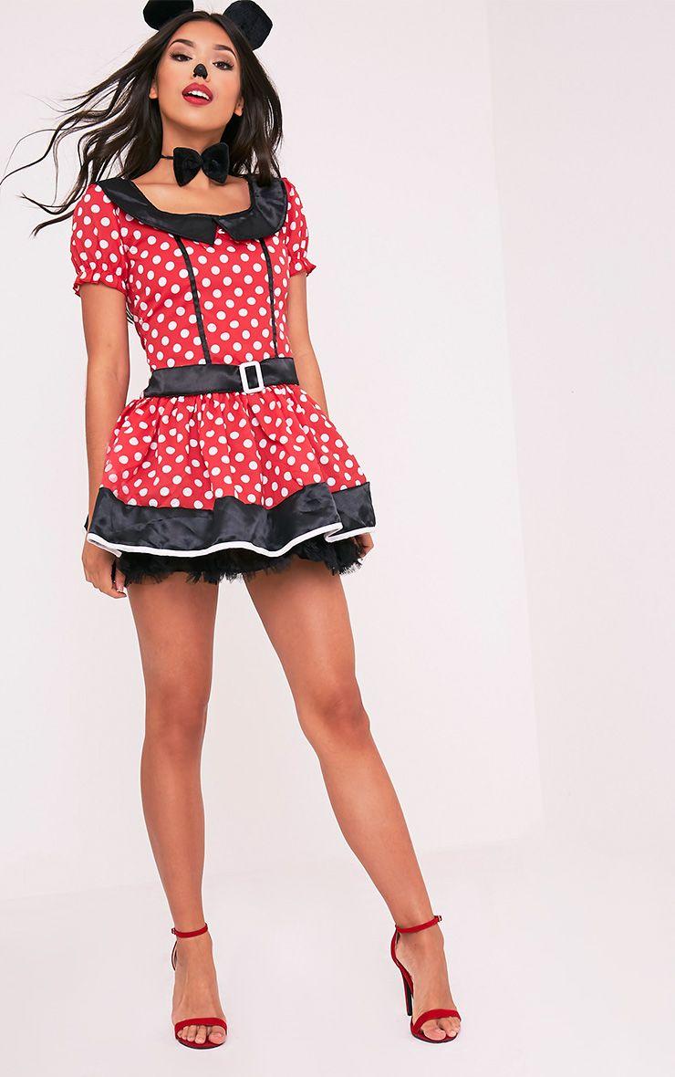 Costume de souris robe rouge à pois 4
