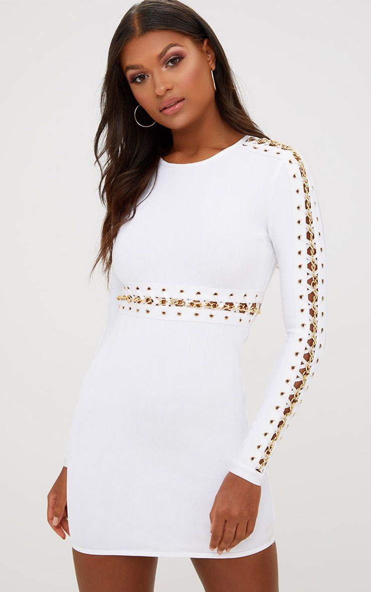 White Chain Detail Bandage Bodycon Dress