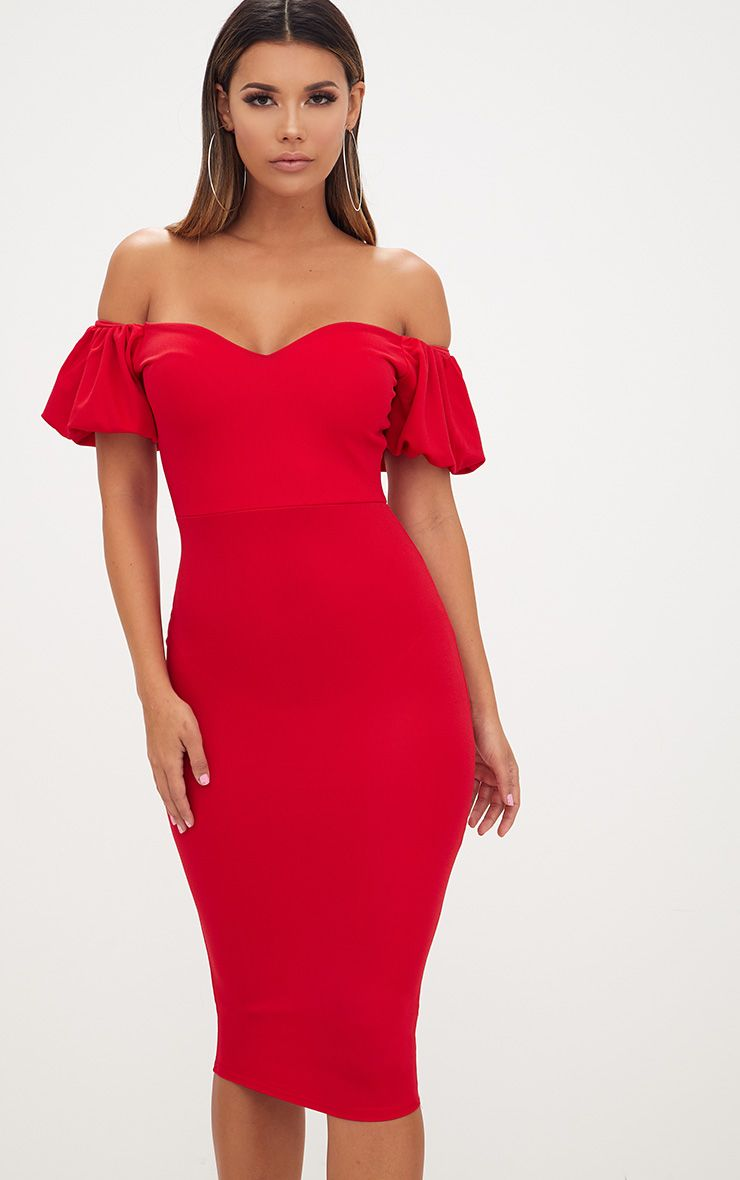 Red Balloon Sleeve Bardot Midi Dress