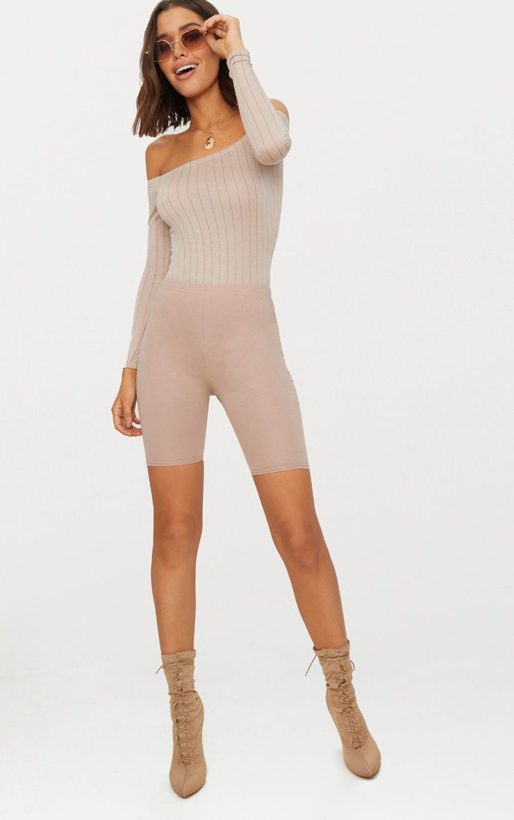 Basic Stone Pinstripe Bardot Thong Bodysuit
