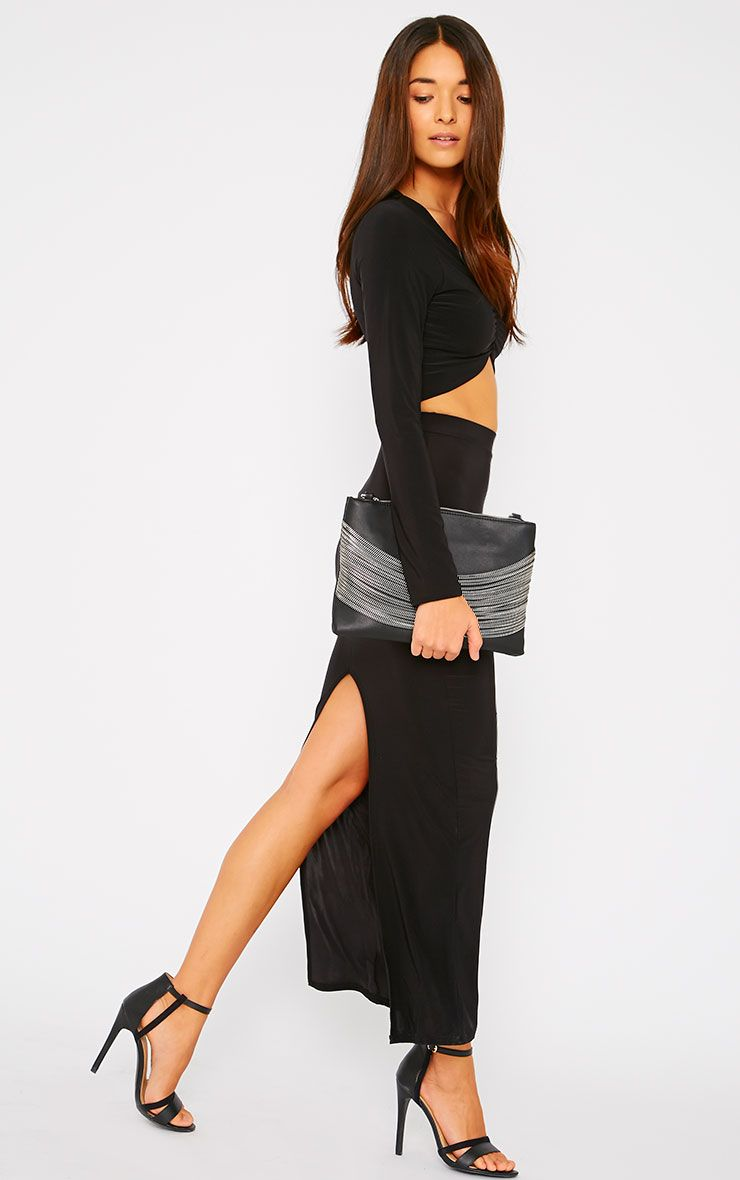 Maizie Black Slinky Split Maxi Skirt 1