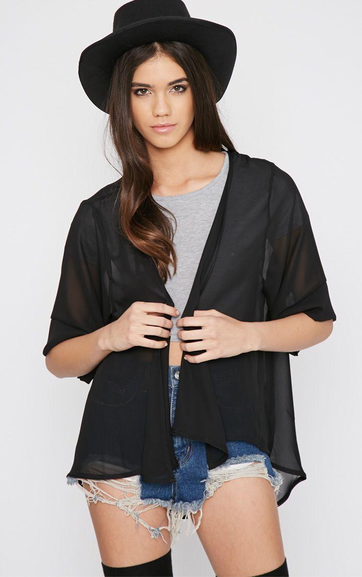 Raina Black Sheer Cropped Kimono 1