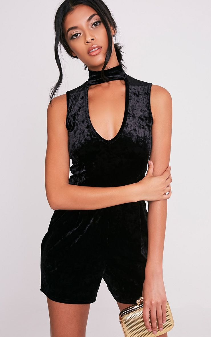 Adaleena Black Choker Neck Velvet Playsuit