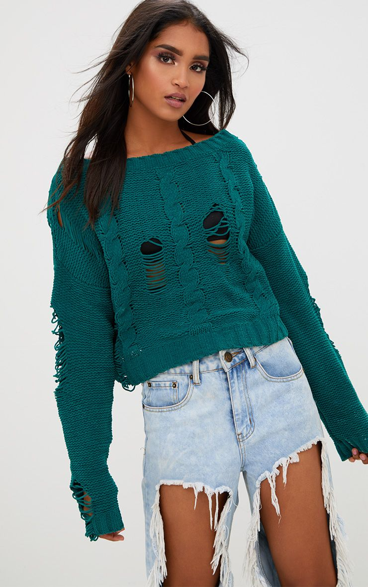 Dark Green Chenille Cropped Jumper
