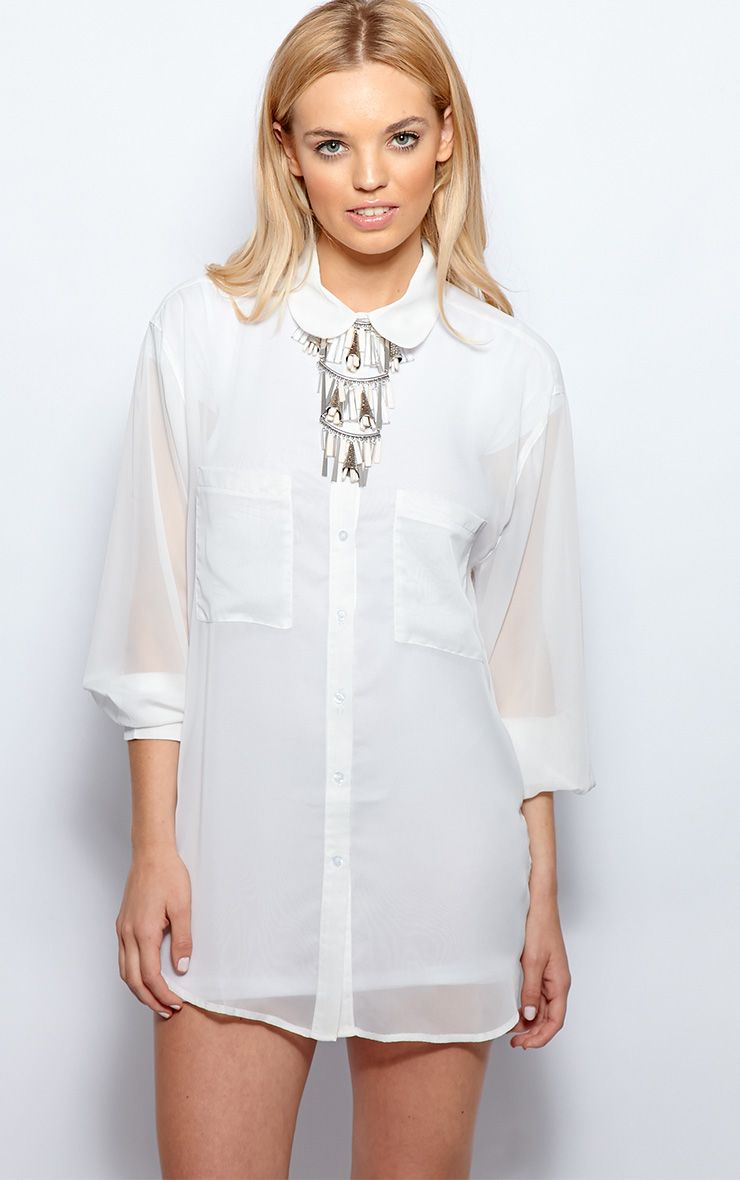 Esme White Sheer Oversized Shirt 1