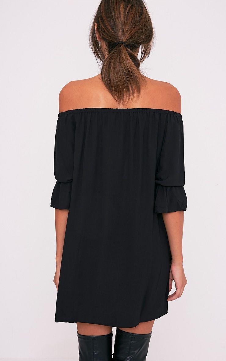 Kandle robe trapèze bardot noire à ourlet arrondi 3